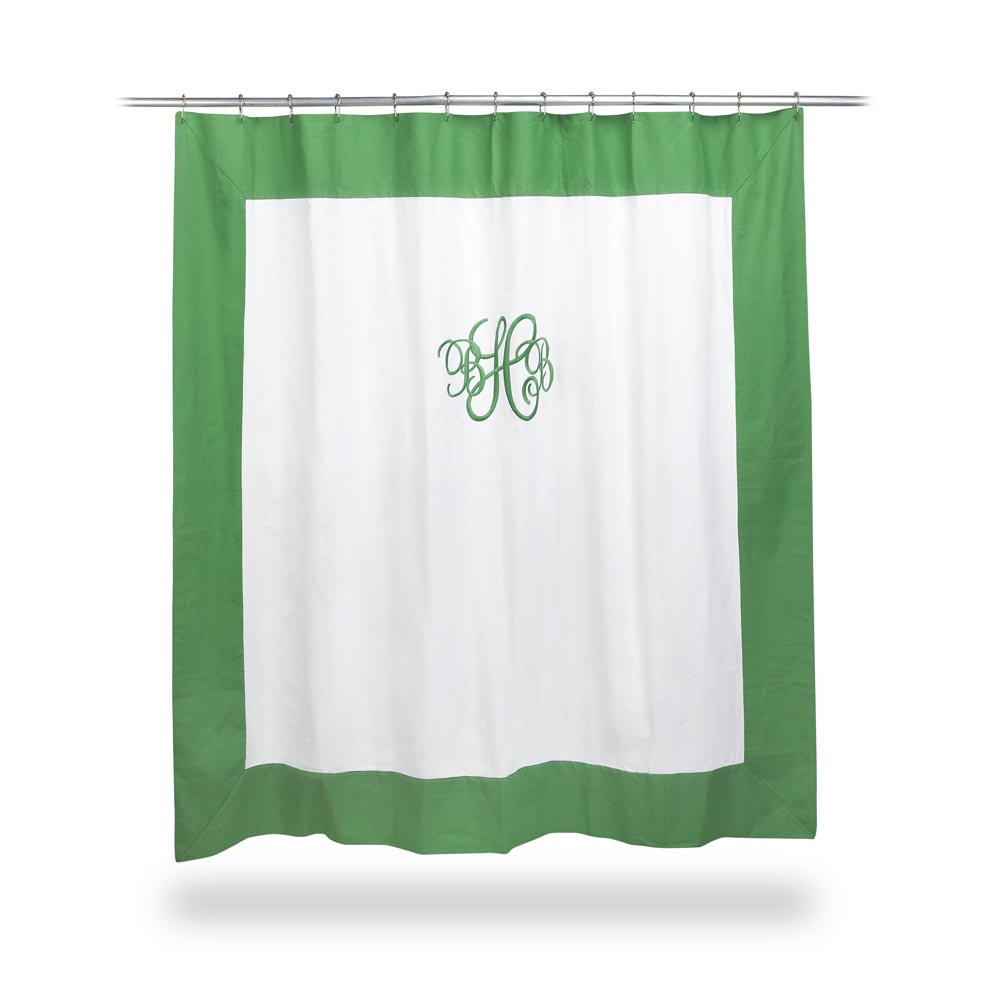 shower curtain with green border