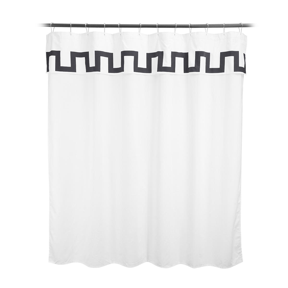 shower curtain with charcoal detail