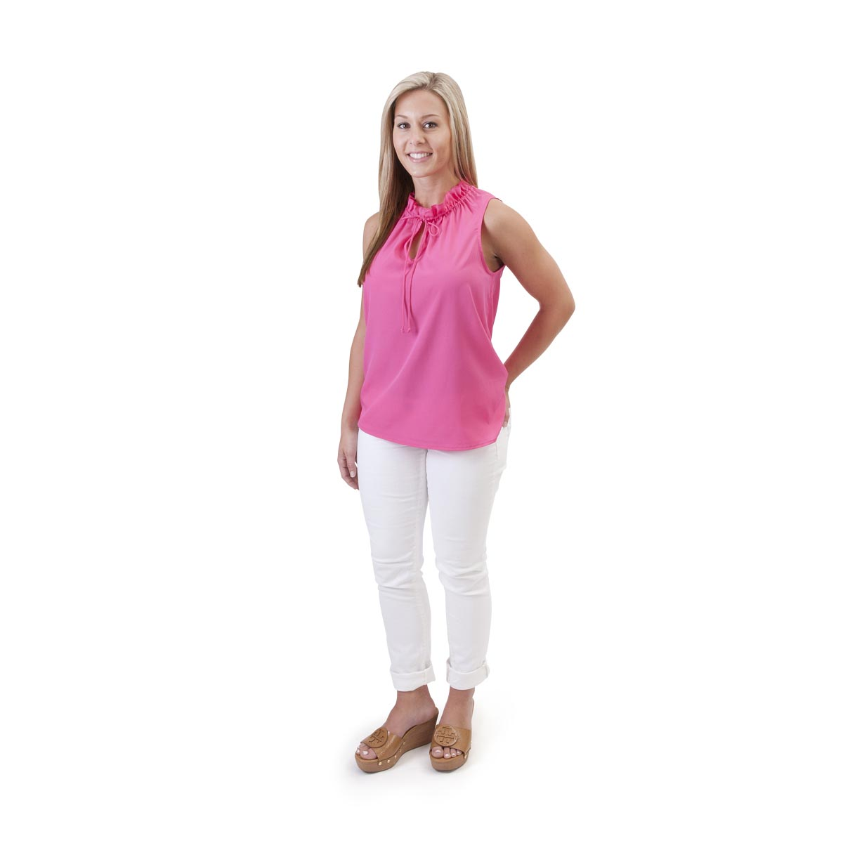hot pink ruffle shirt