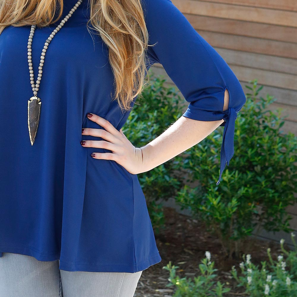 navy peony bentley poly-knit top
