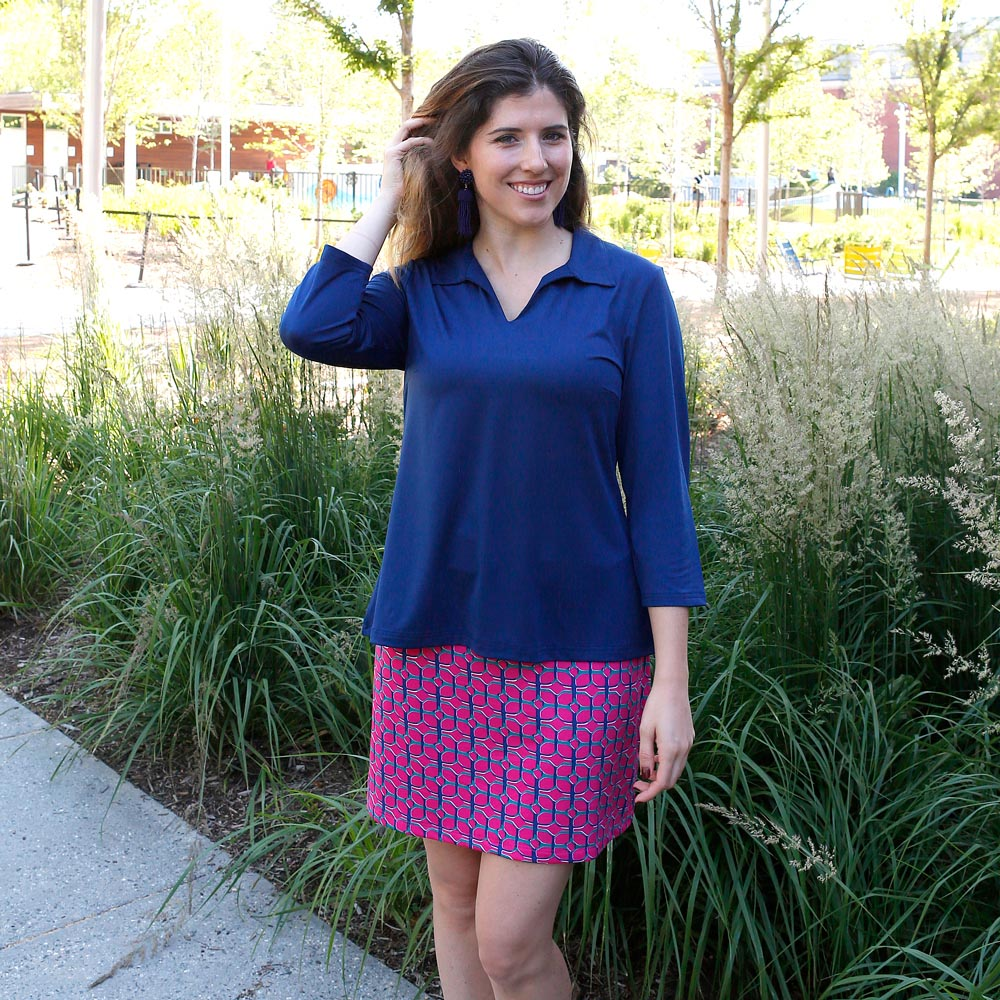 navy peony salem poly-knit top