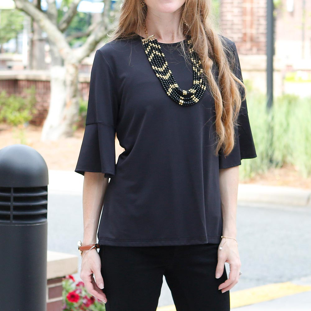 black cora poly-knit top