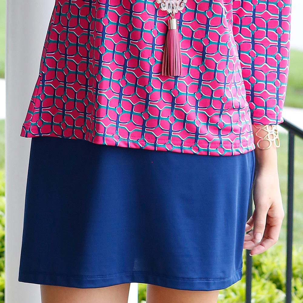navy peony willow poly-knit skirt