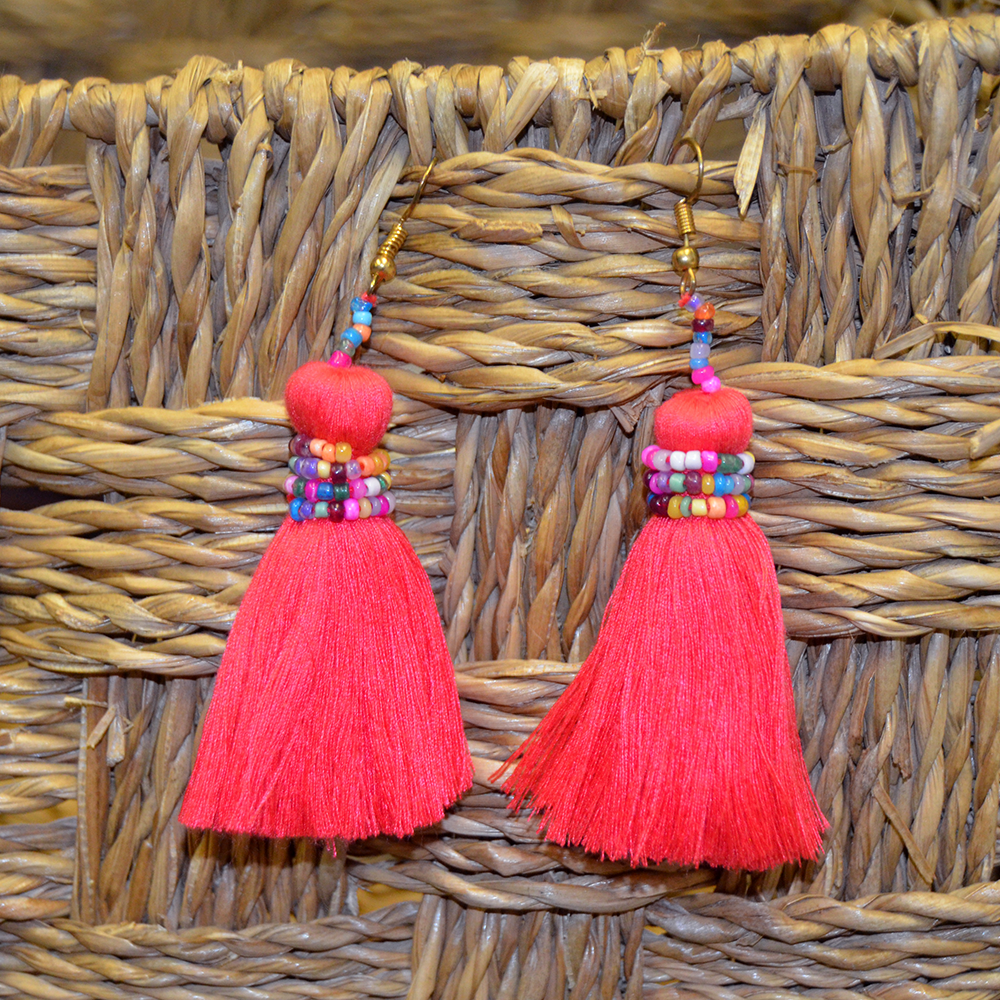 no hassle tassel teaberry earring