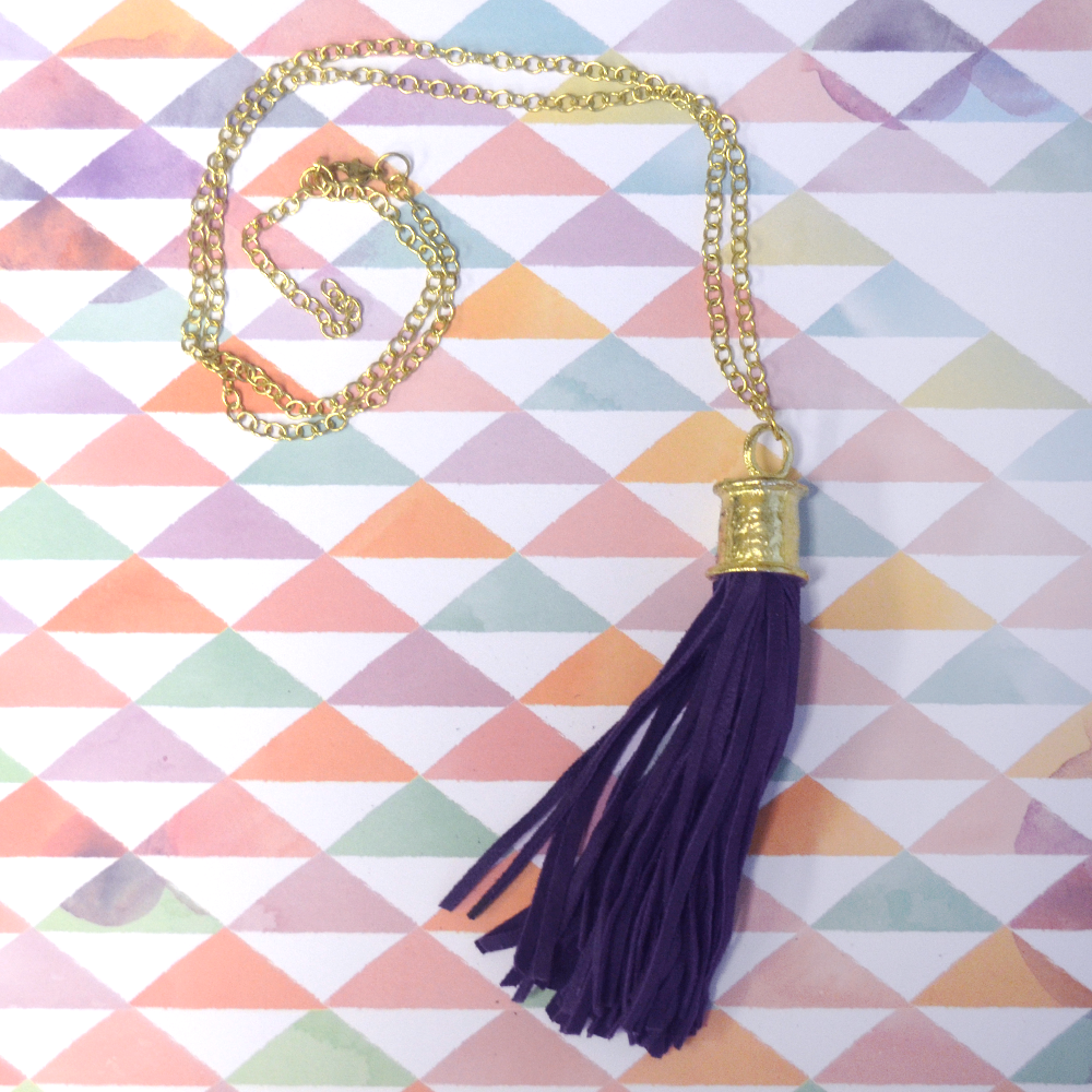 let us per-suede you eggplant tassel necklace