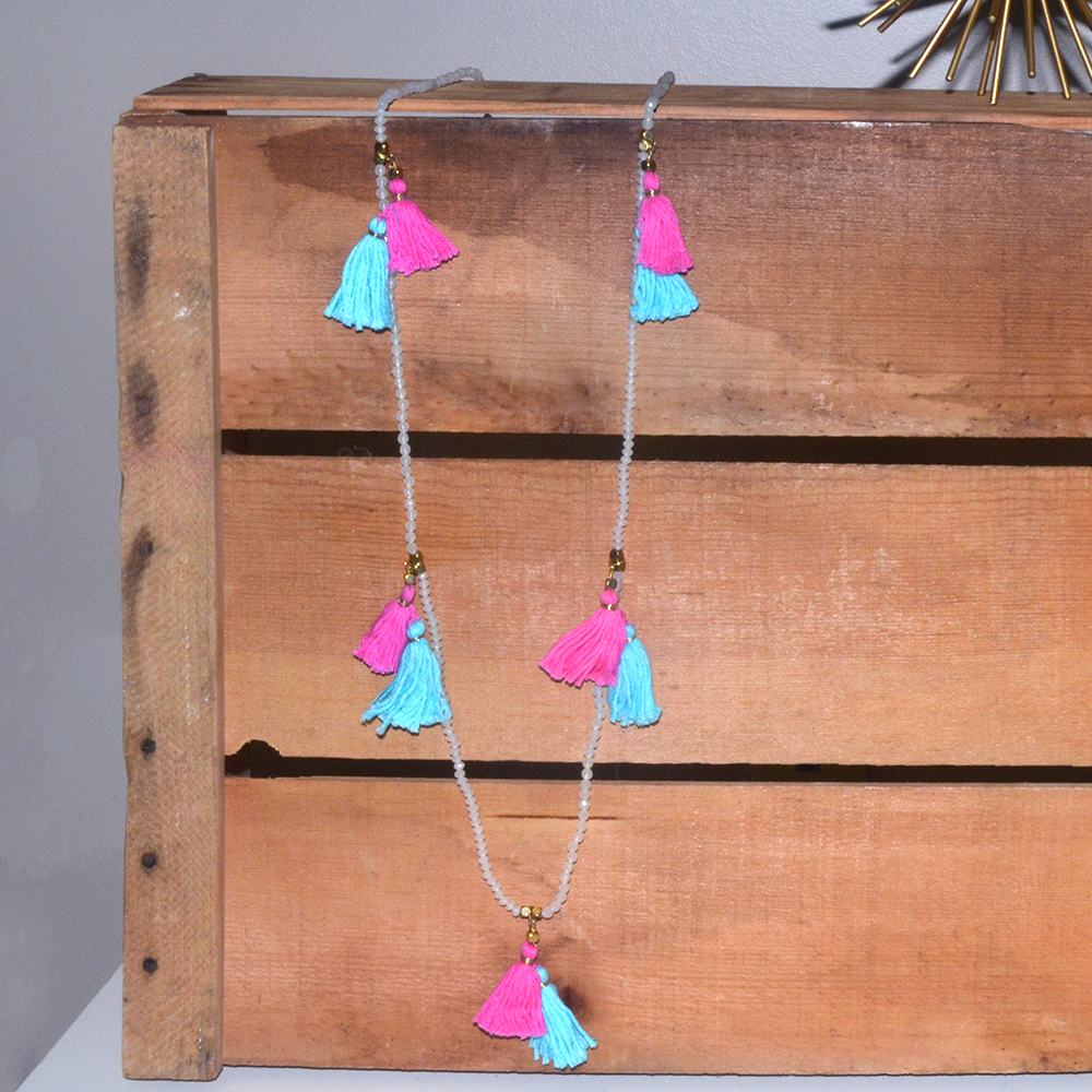 fringe benefit pink and turq tassel necklace