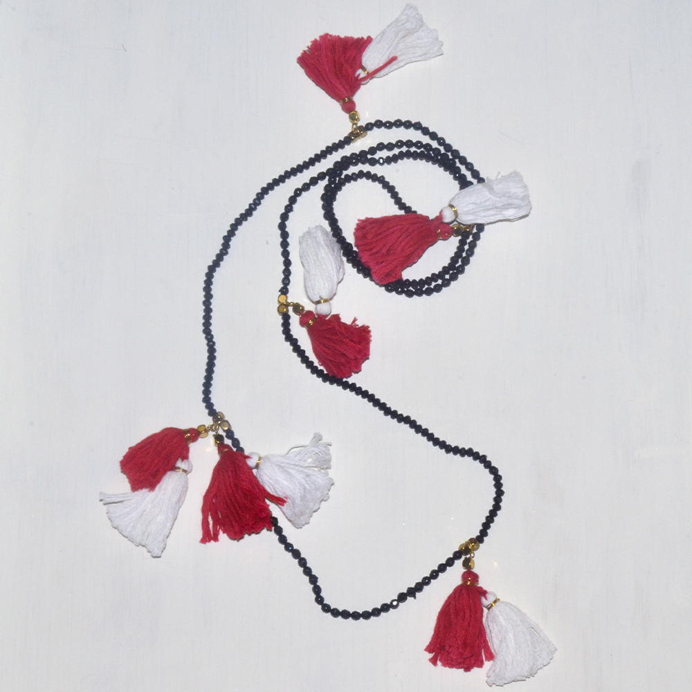 fringe benefit red and white tassel necklace