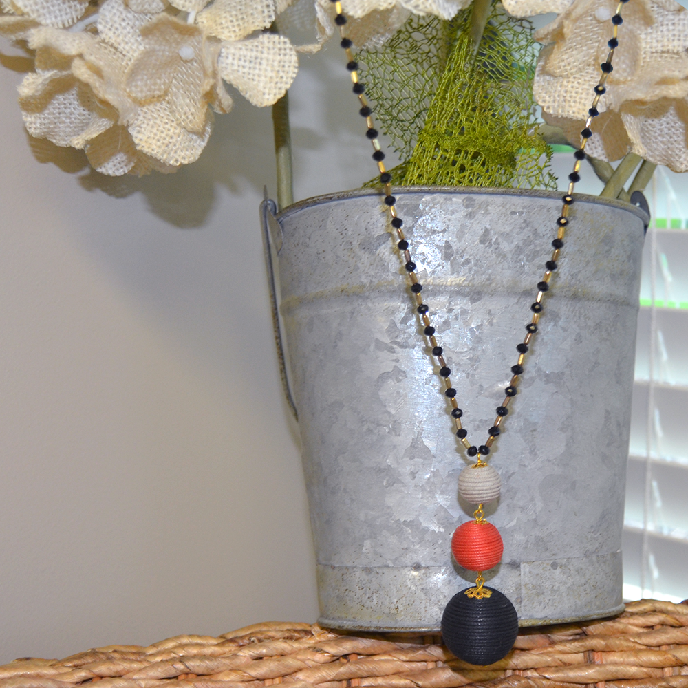 ball drop black/red/gray necklace