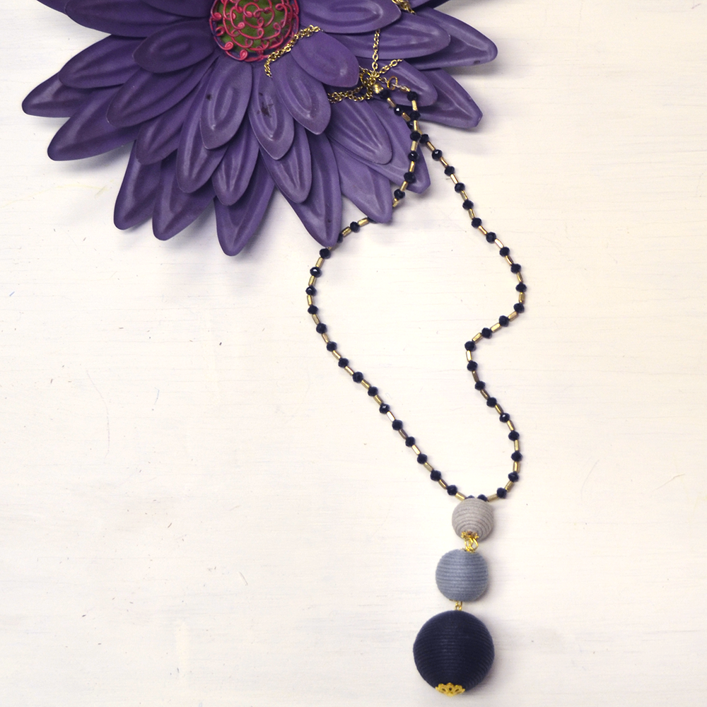 ball drop sand/gray/black necklace