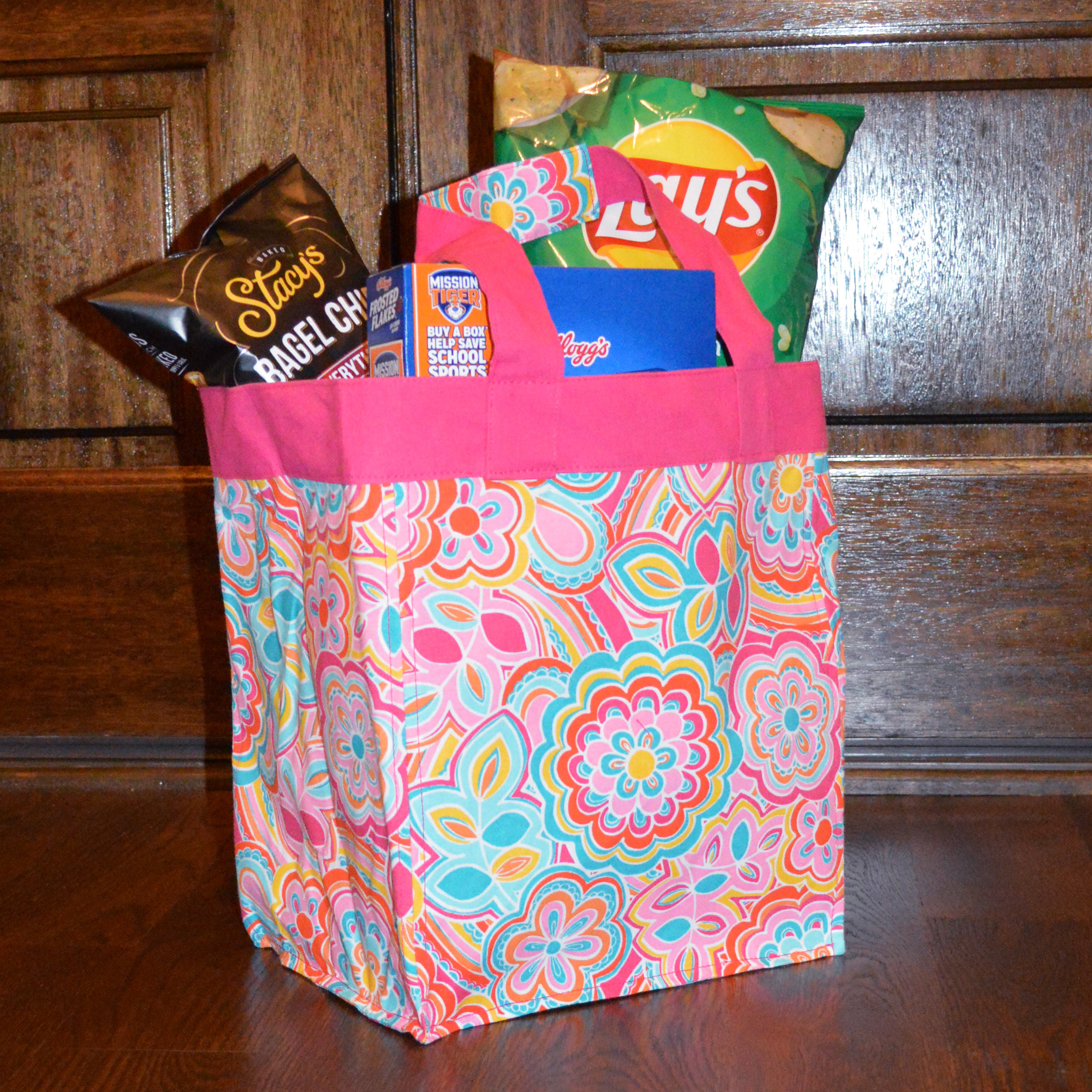 flower power square storage tote