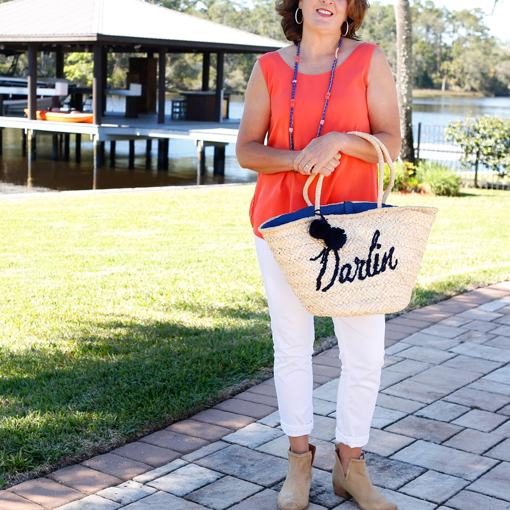 darlin' blue straw tote with pom pom