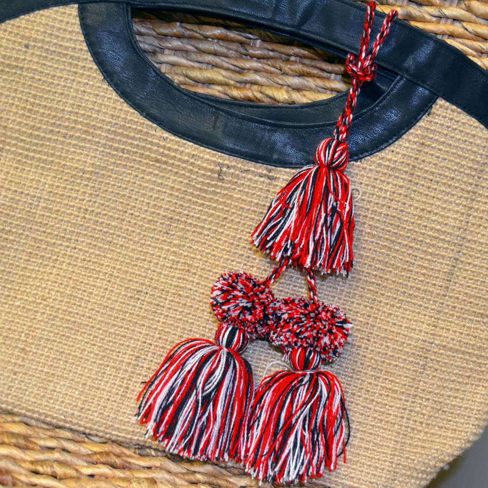 red white black tassel