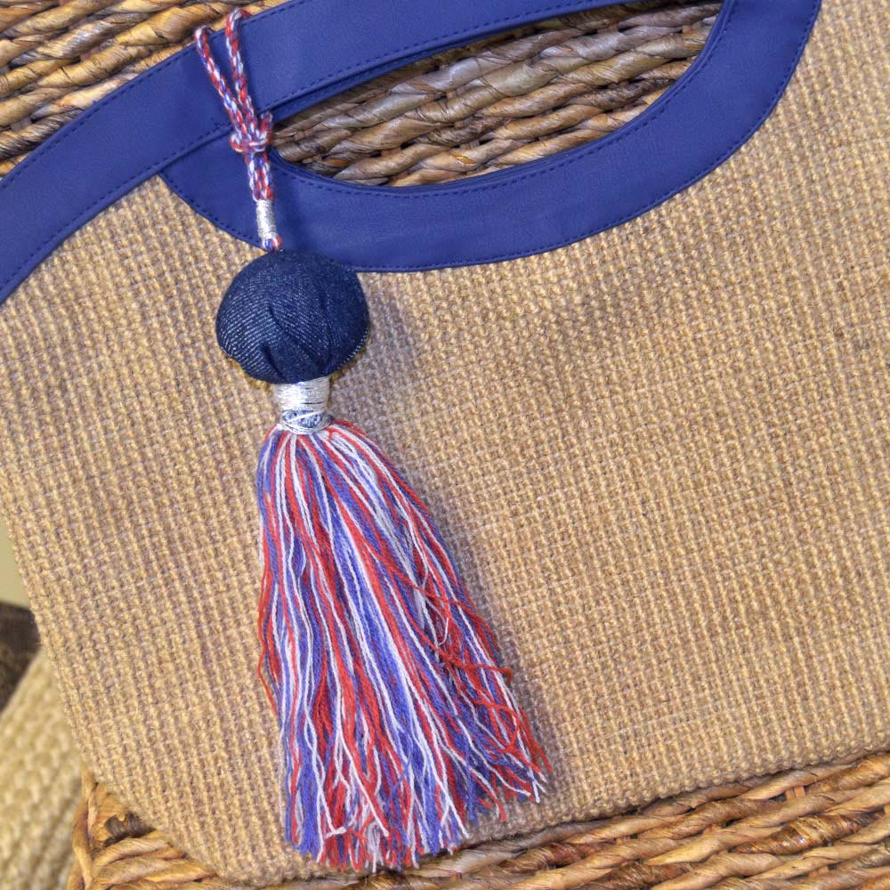 big red, blue and white tassel