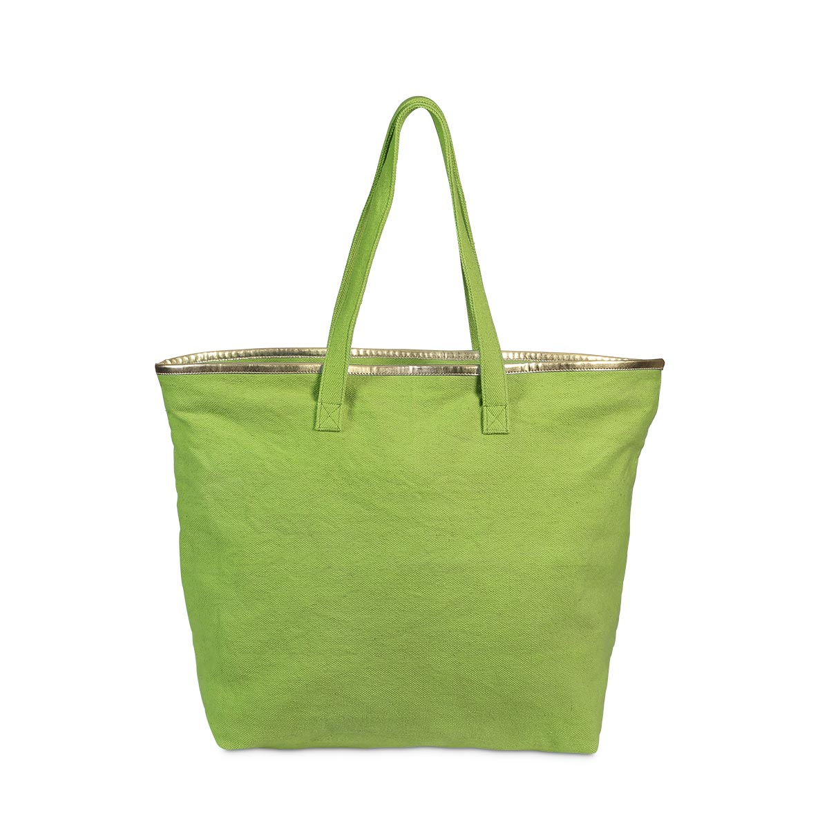 total tote green, gold trim