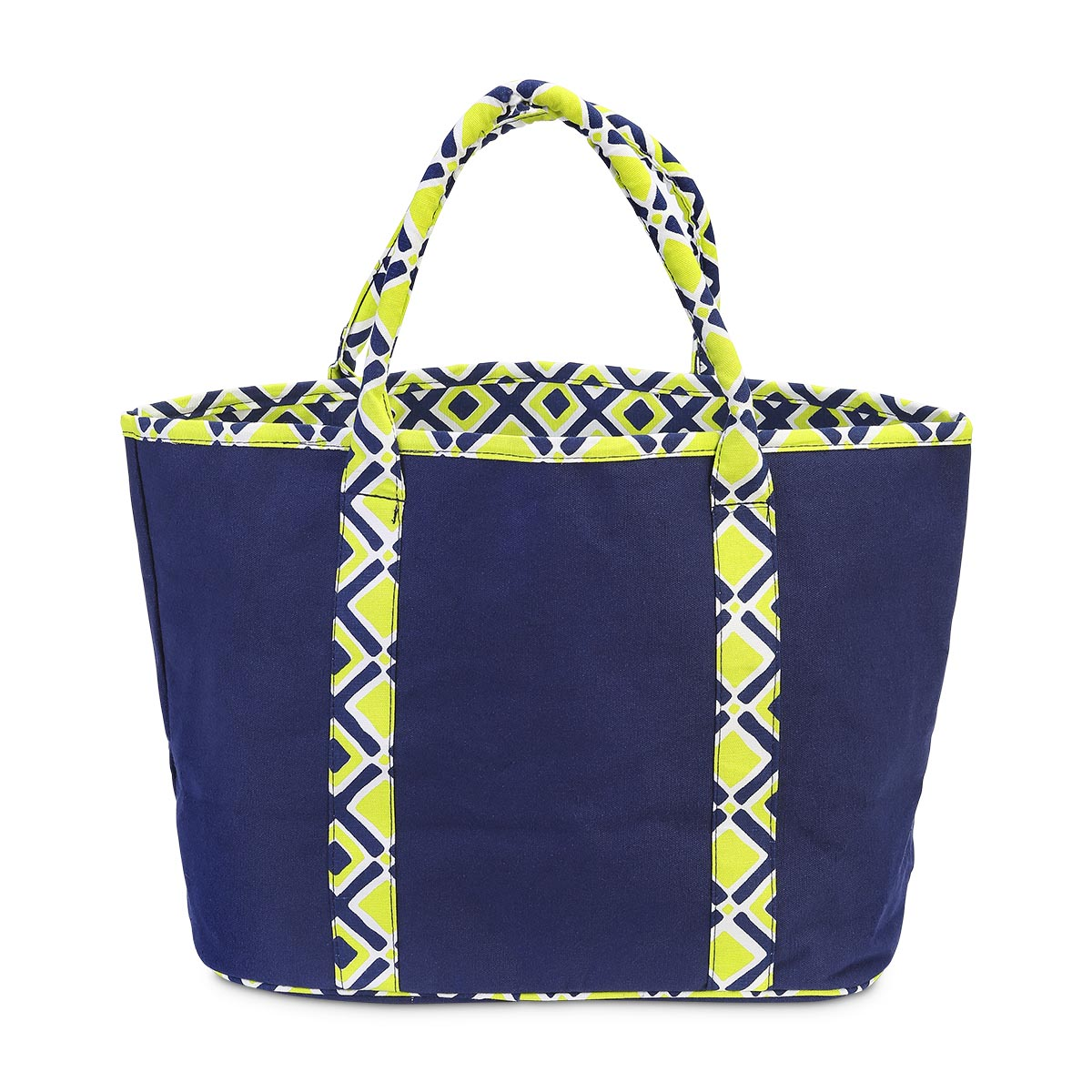 times square navy/lime traveler tote