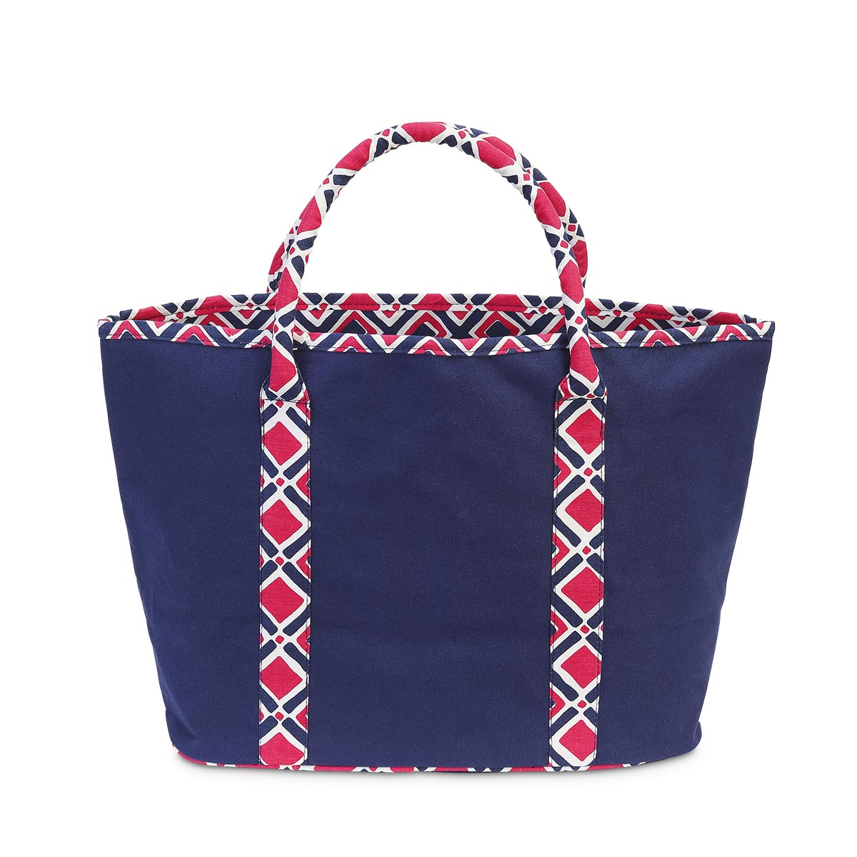times square navy/pink traveler tote