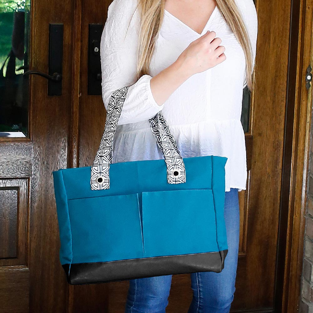 teal toss up tote