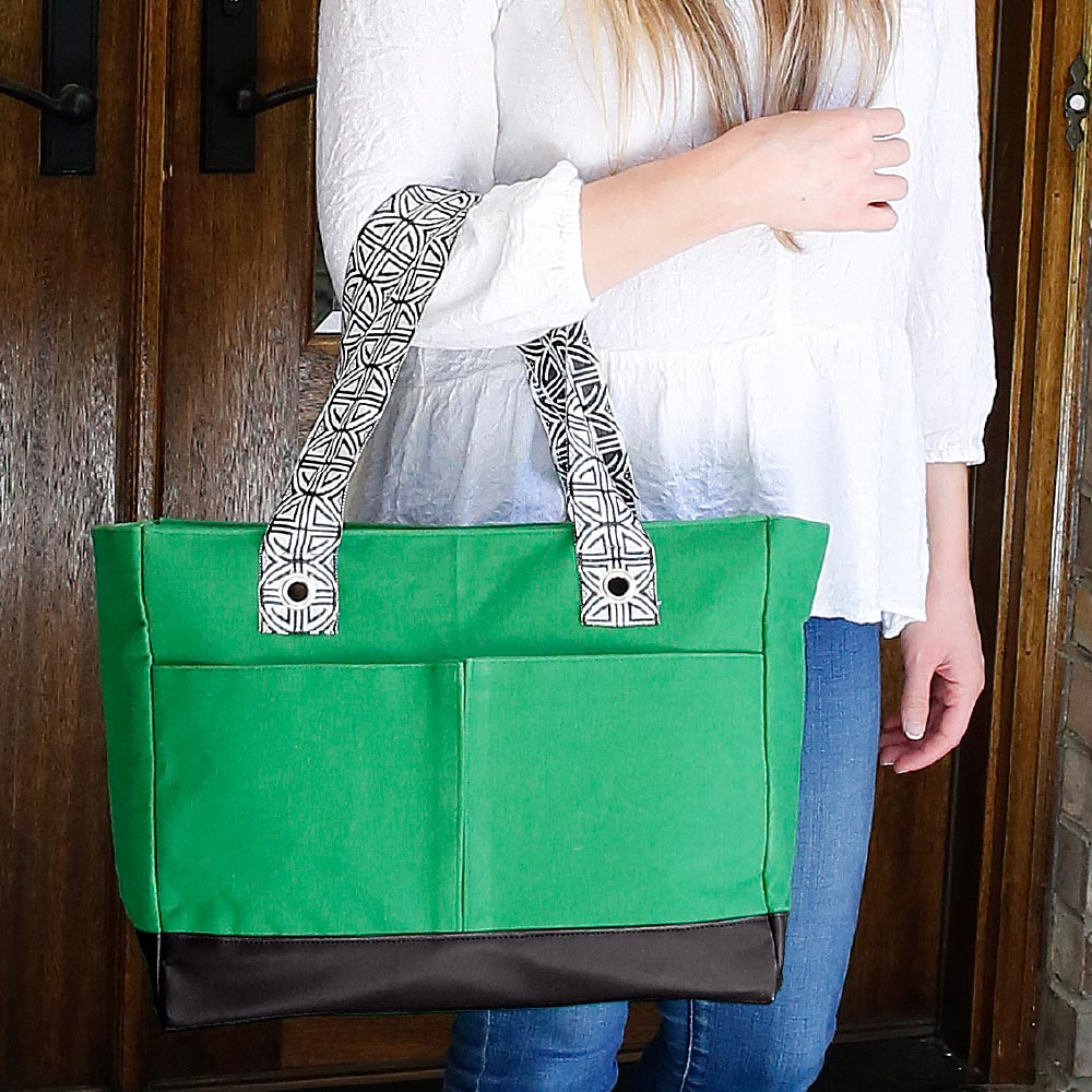 green toss up tote
