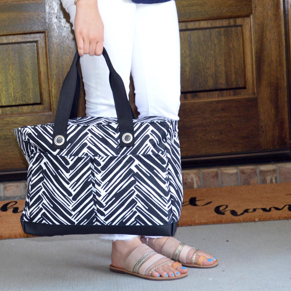 twill do black toss up tote