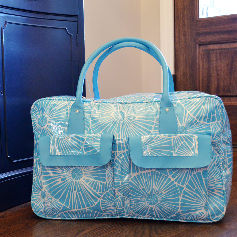 full circle turquoise weekender duffle