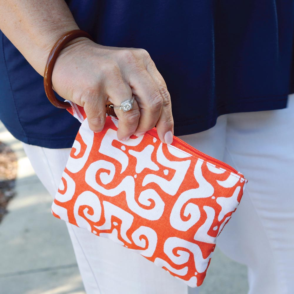 don't fret orange wristlet