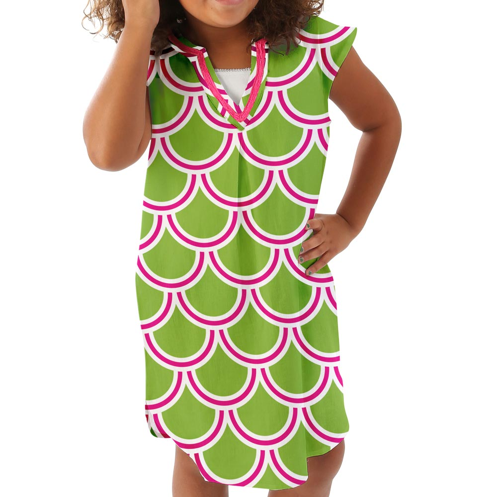 harbor bae pink/green kids tunic