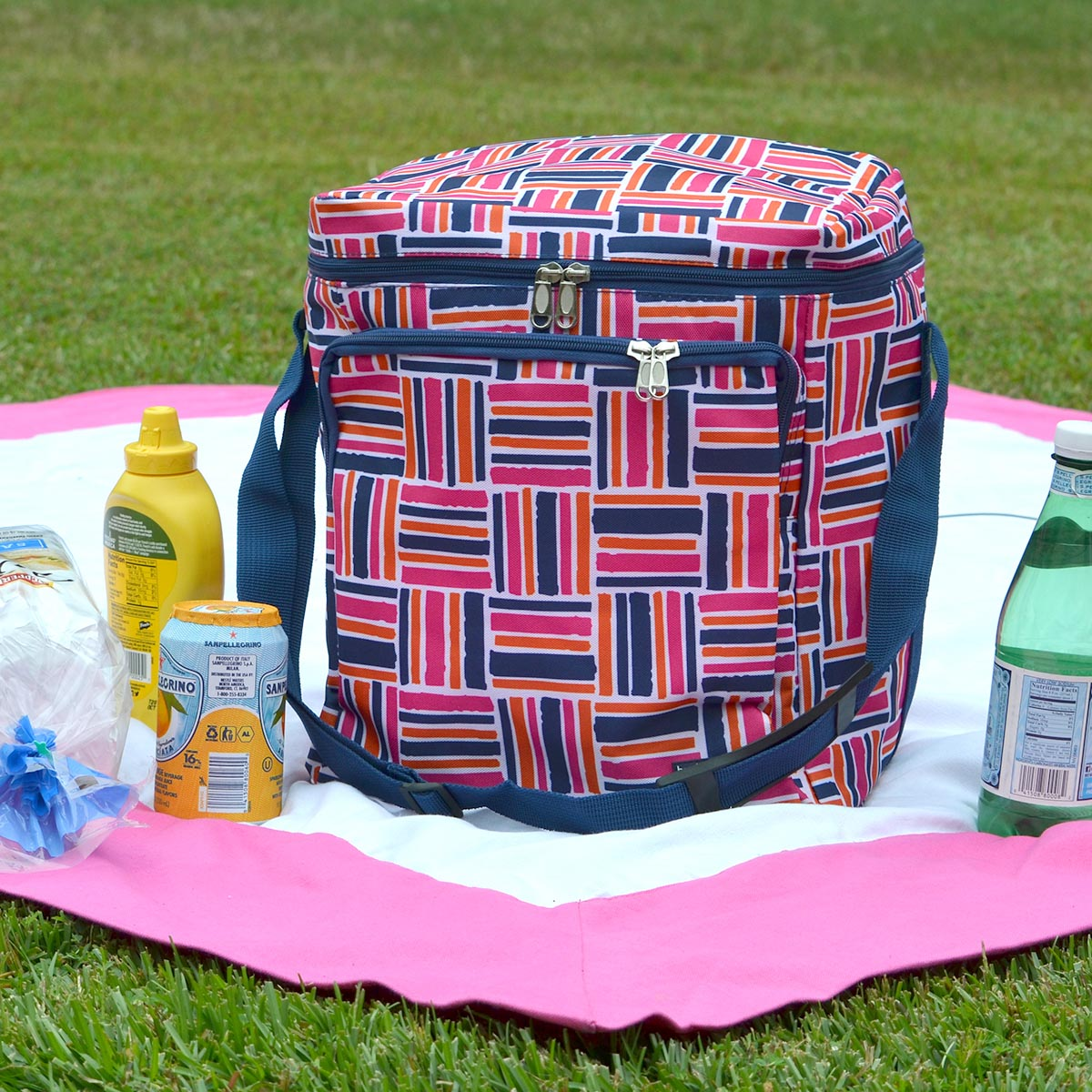 stripe cube pink square cooler bag
