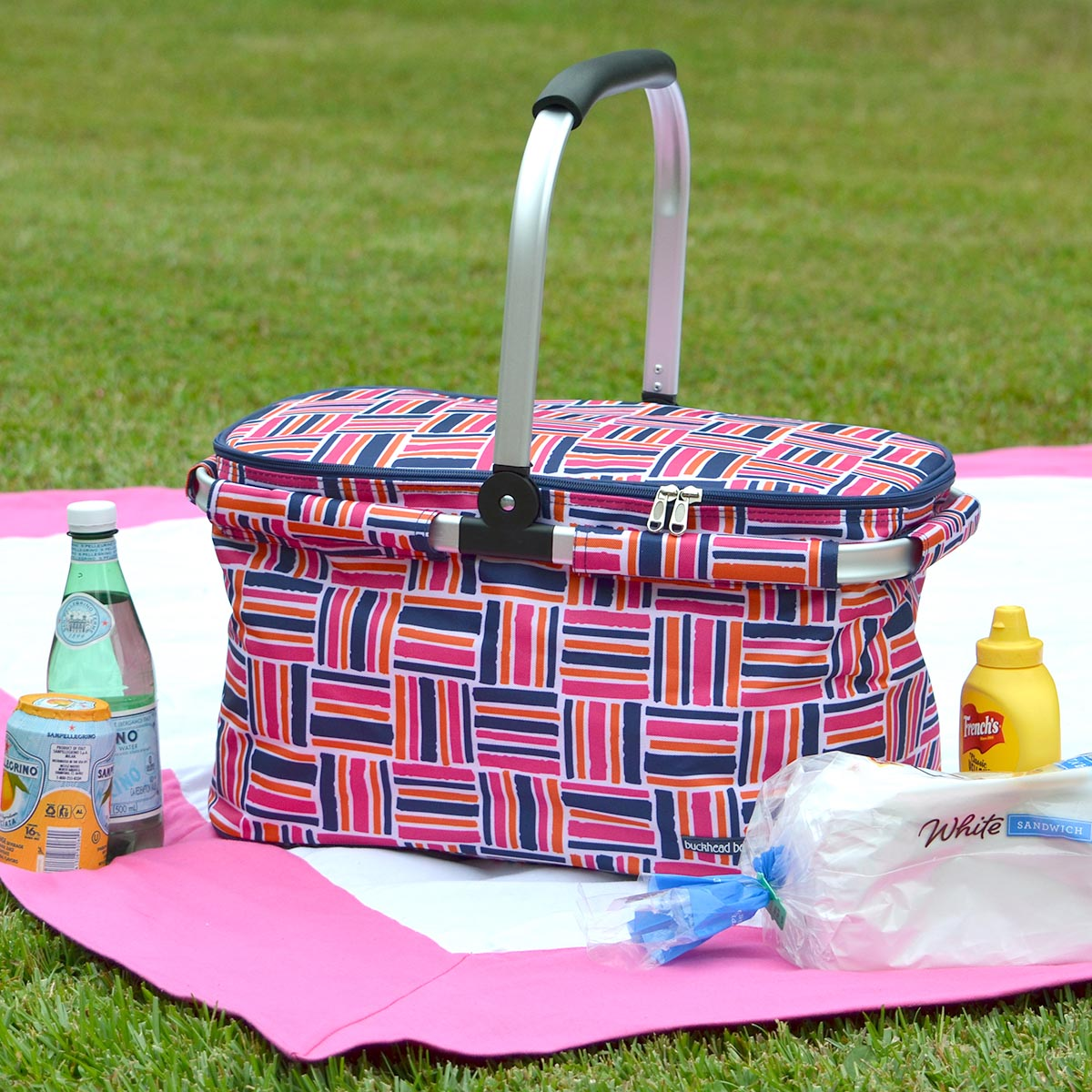 stripe cube pink picnic basket bag