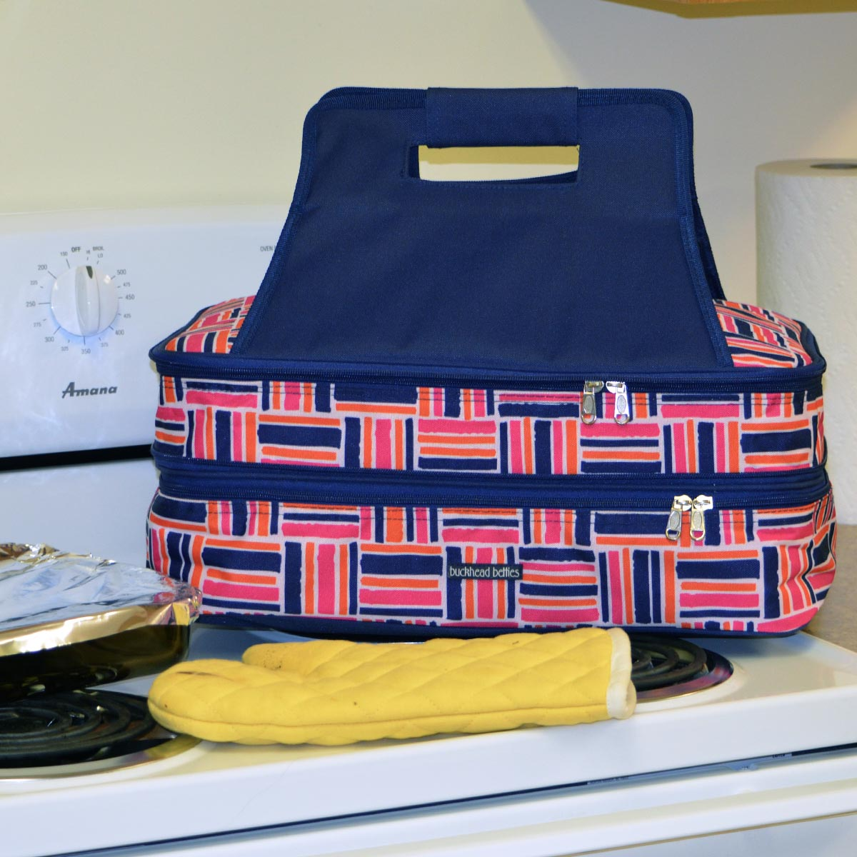 stripe cube pink double casserole carrier