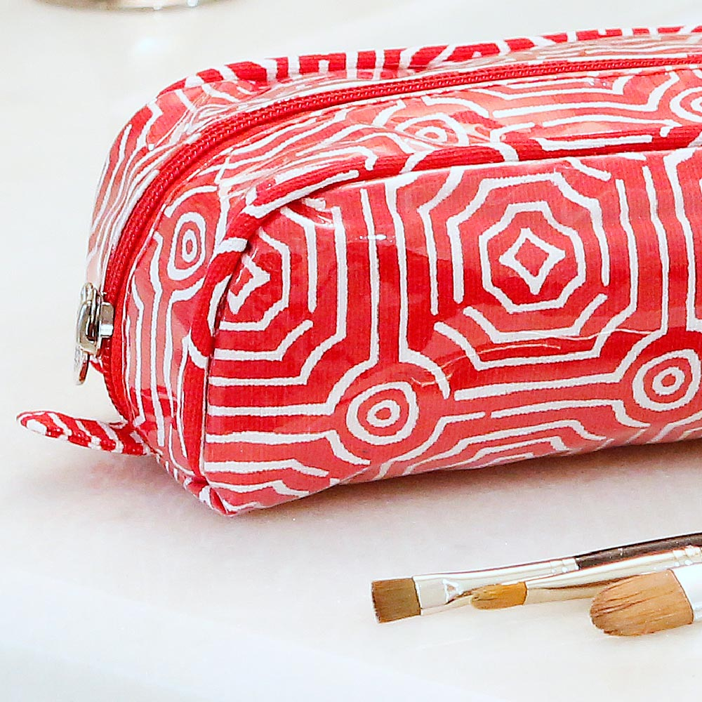 echo red pencil and brush pouch