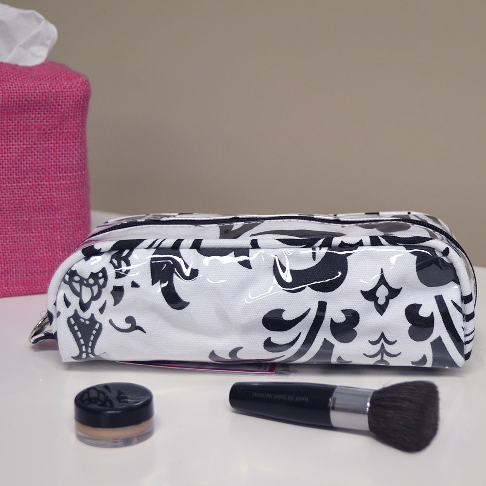black/white damask pencil and brush pouch