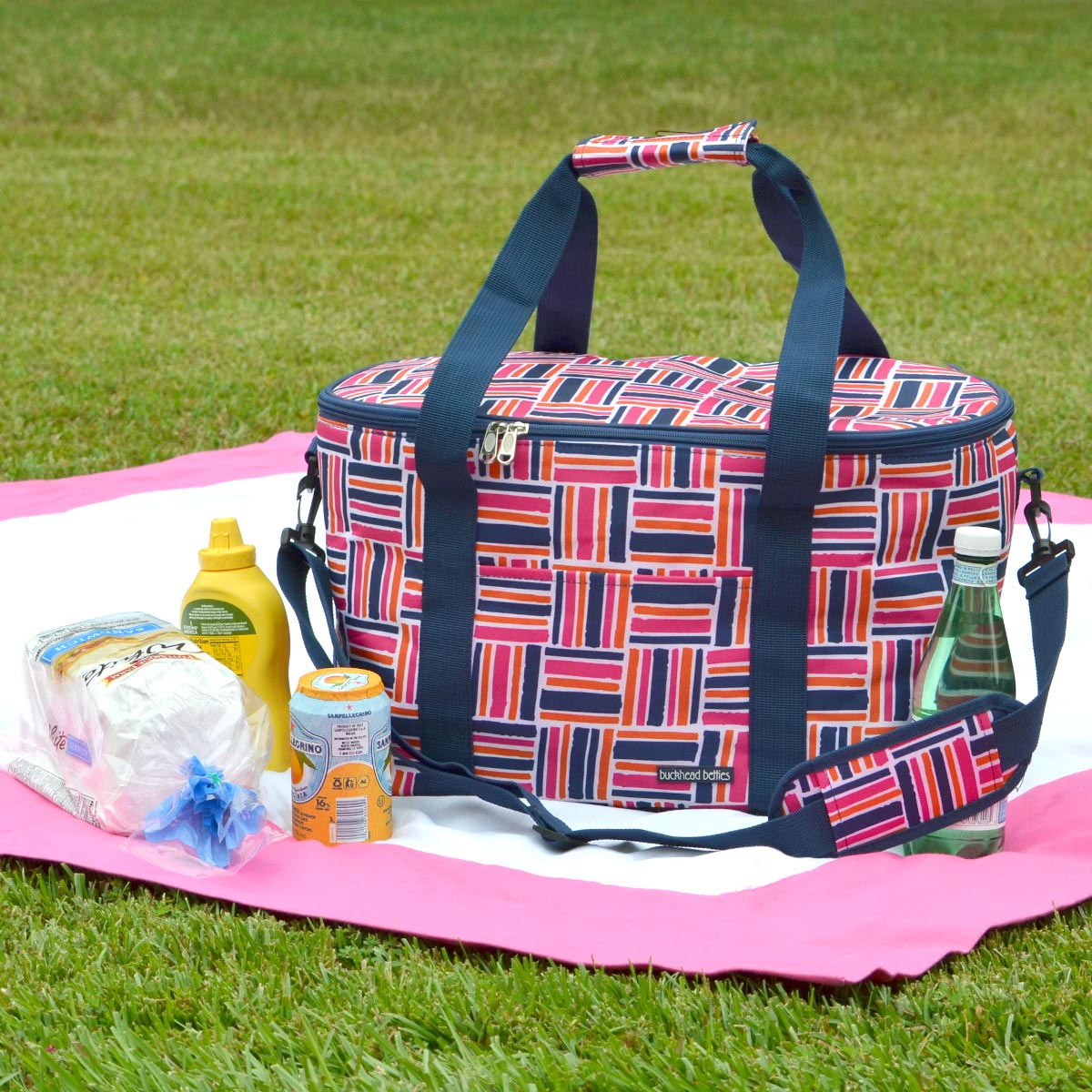 stripe cube pink oval cooler bag