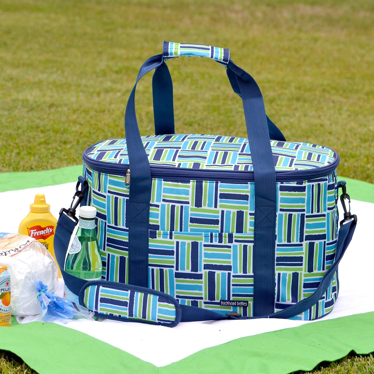 stripe cube blue oval cooler bag