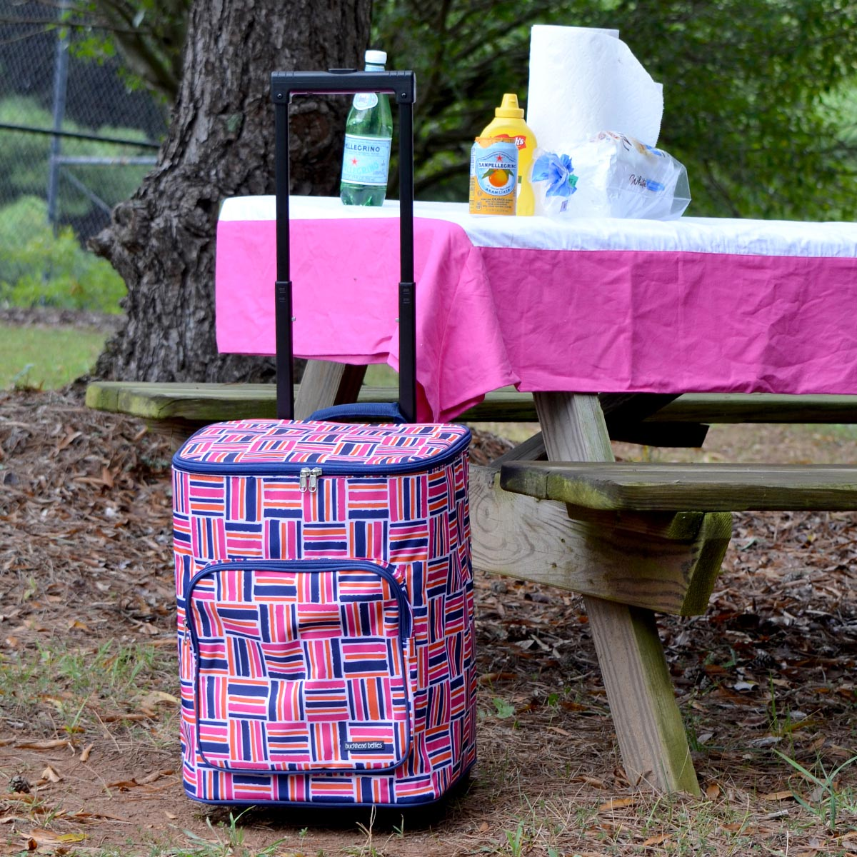 stripe cube pink rolling cooler bag