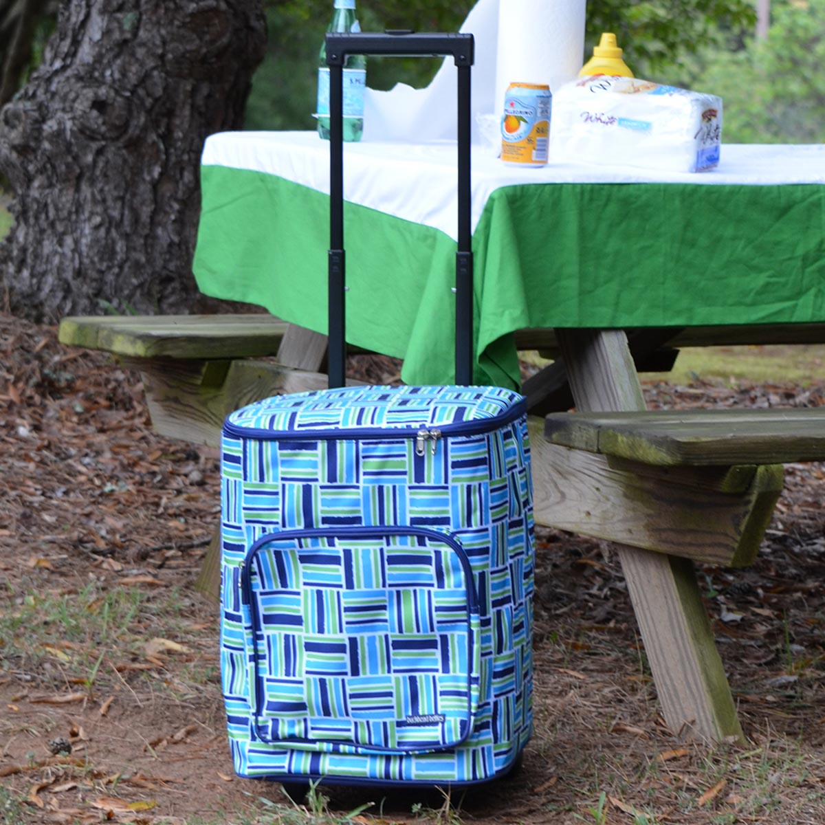 stripe cube blue rolling cooler bag