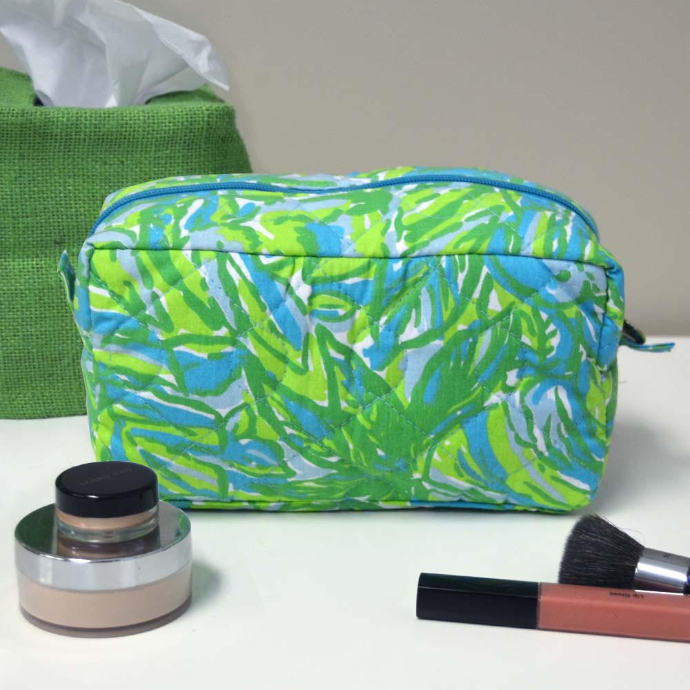 crocodile rock quilted cosmetic bag