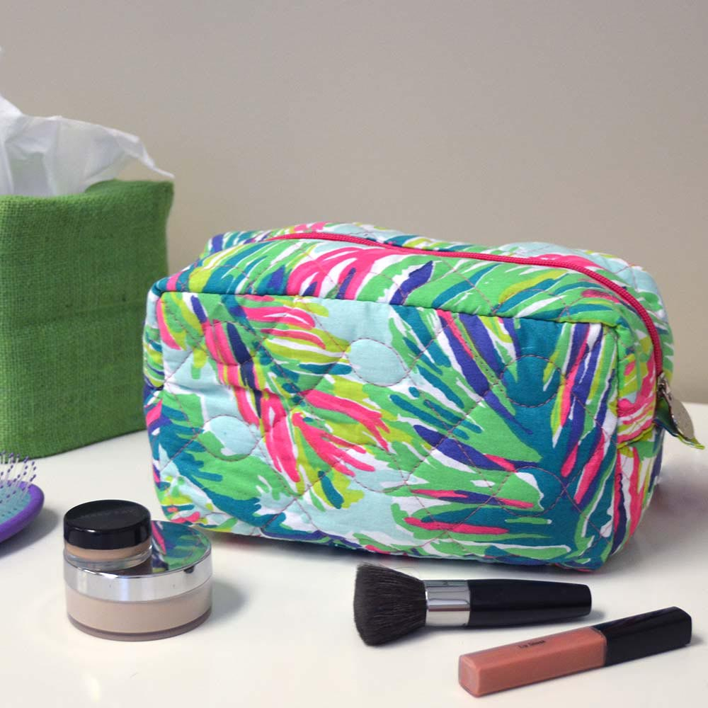 island girl quilted cosmetic bag