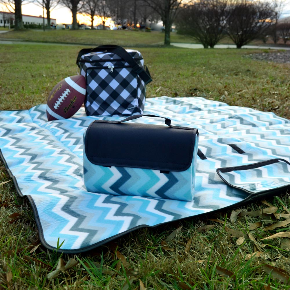 blue chevron stadium blanket
