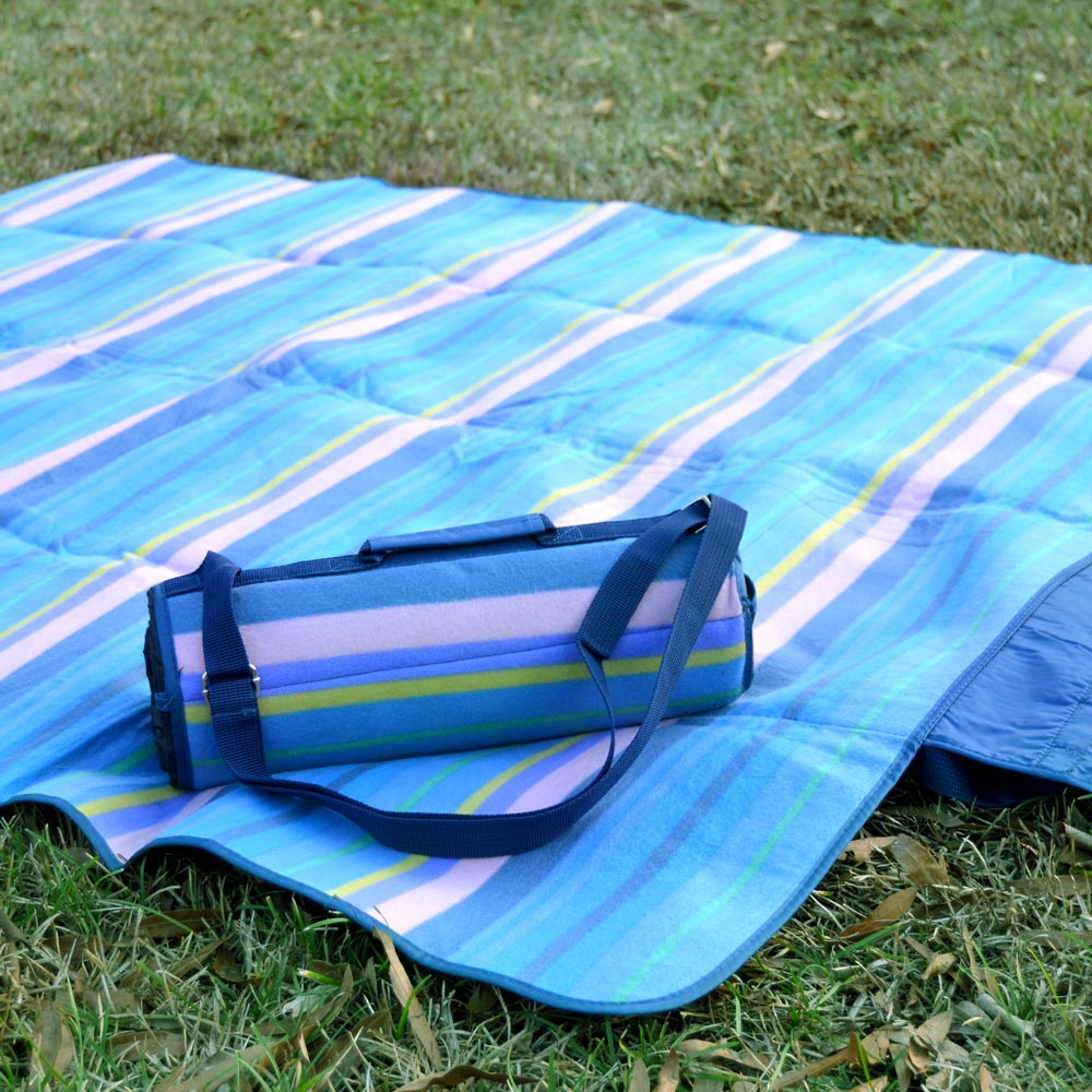 blue pink stripe stadium blanket