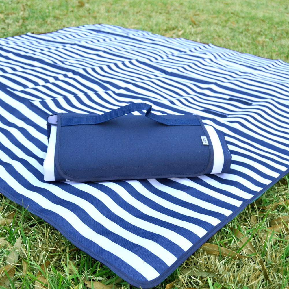navy white stripe stadium blanket