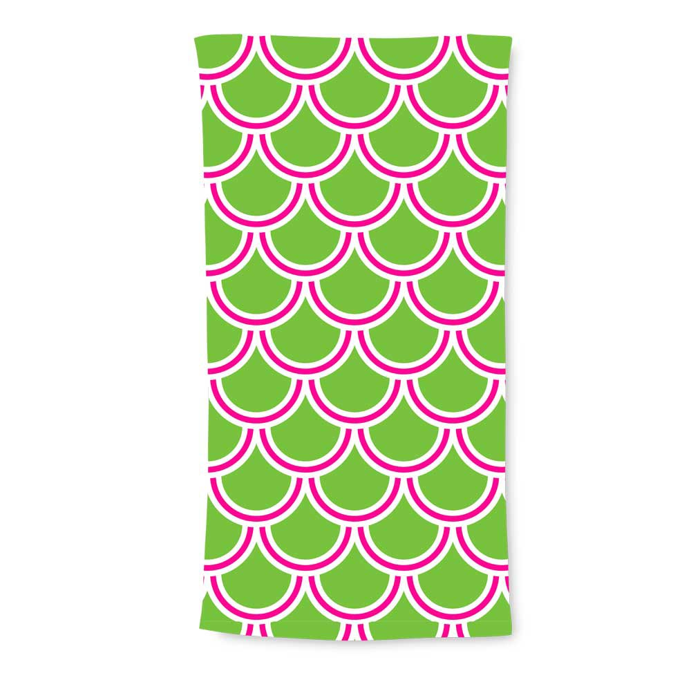 harbor bae lime/pink terry beach towel