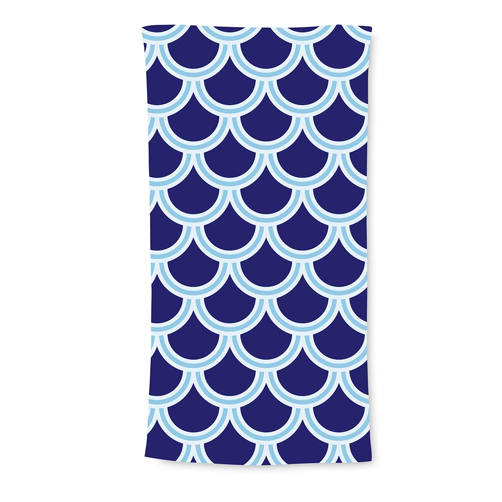 harbor bae navy/cornflower terry beach towel