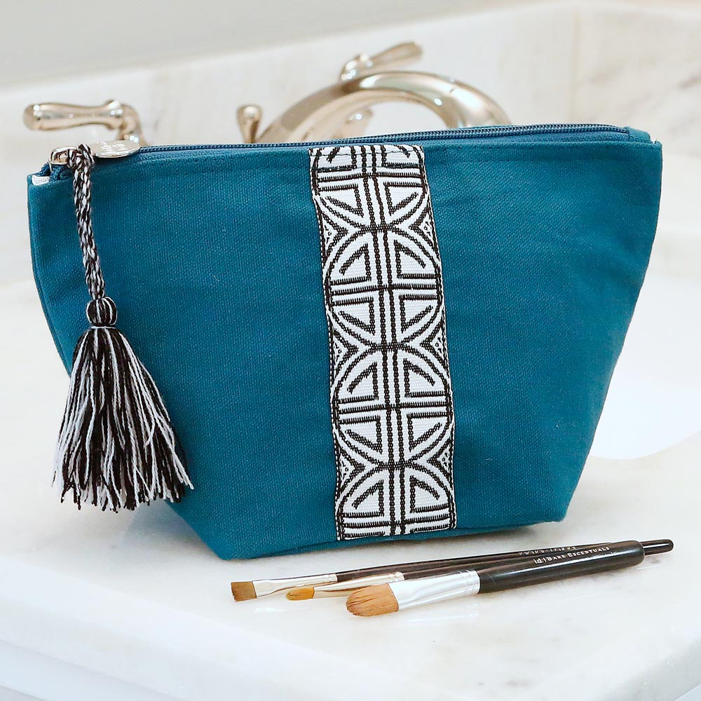 teal zipper bag pouch w/tassle