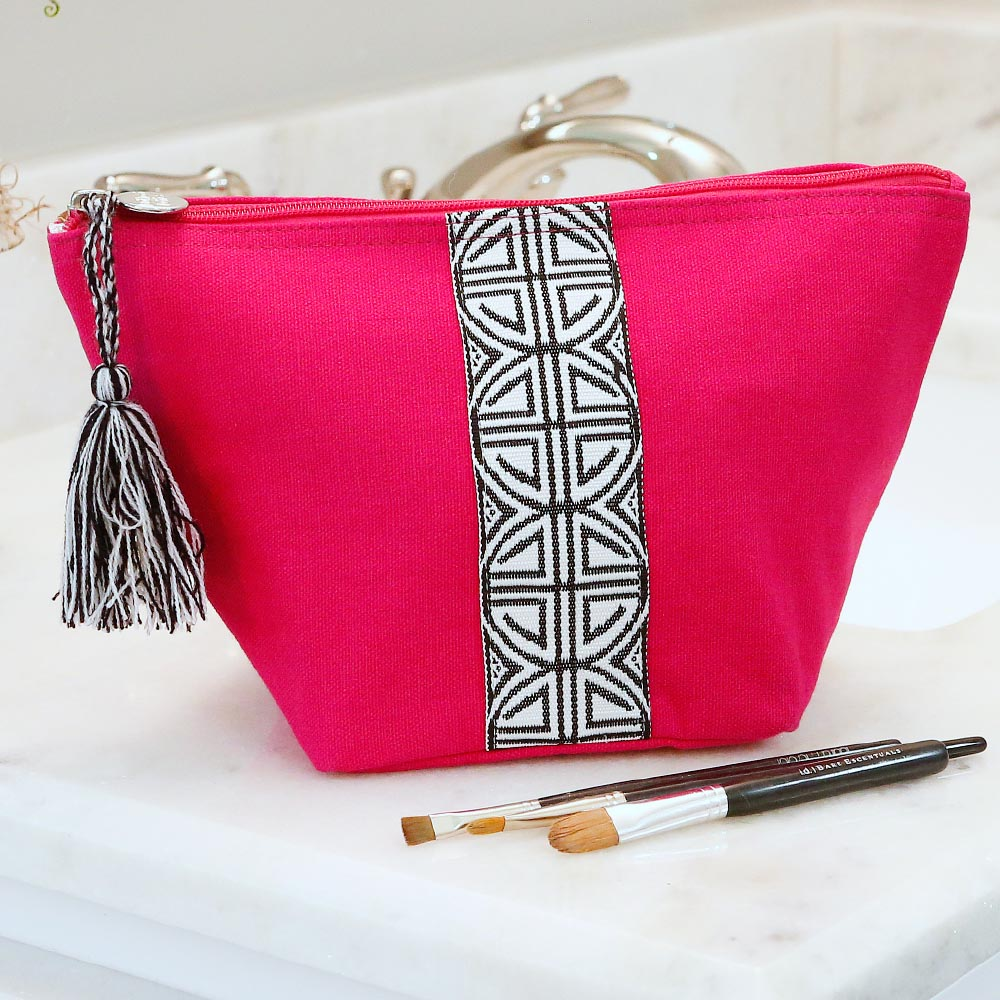 pink zipper bag pouch w/tassle