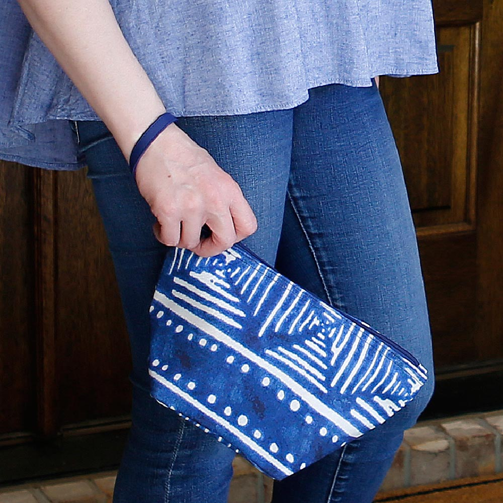 indigo daze zipper bag pouch