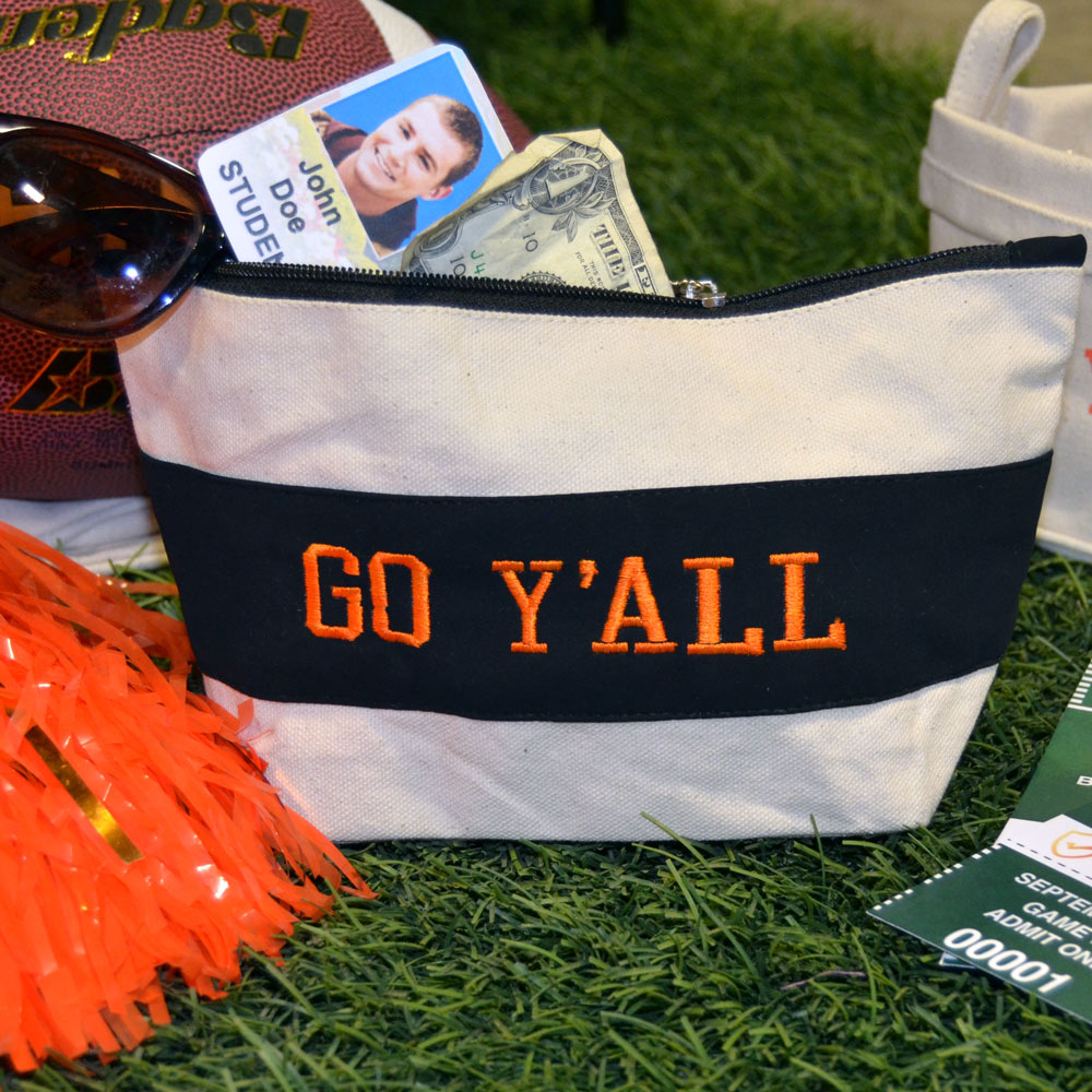 black suede zipper pouch with go y'all orange
