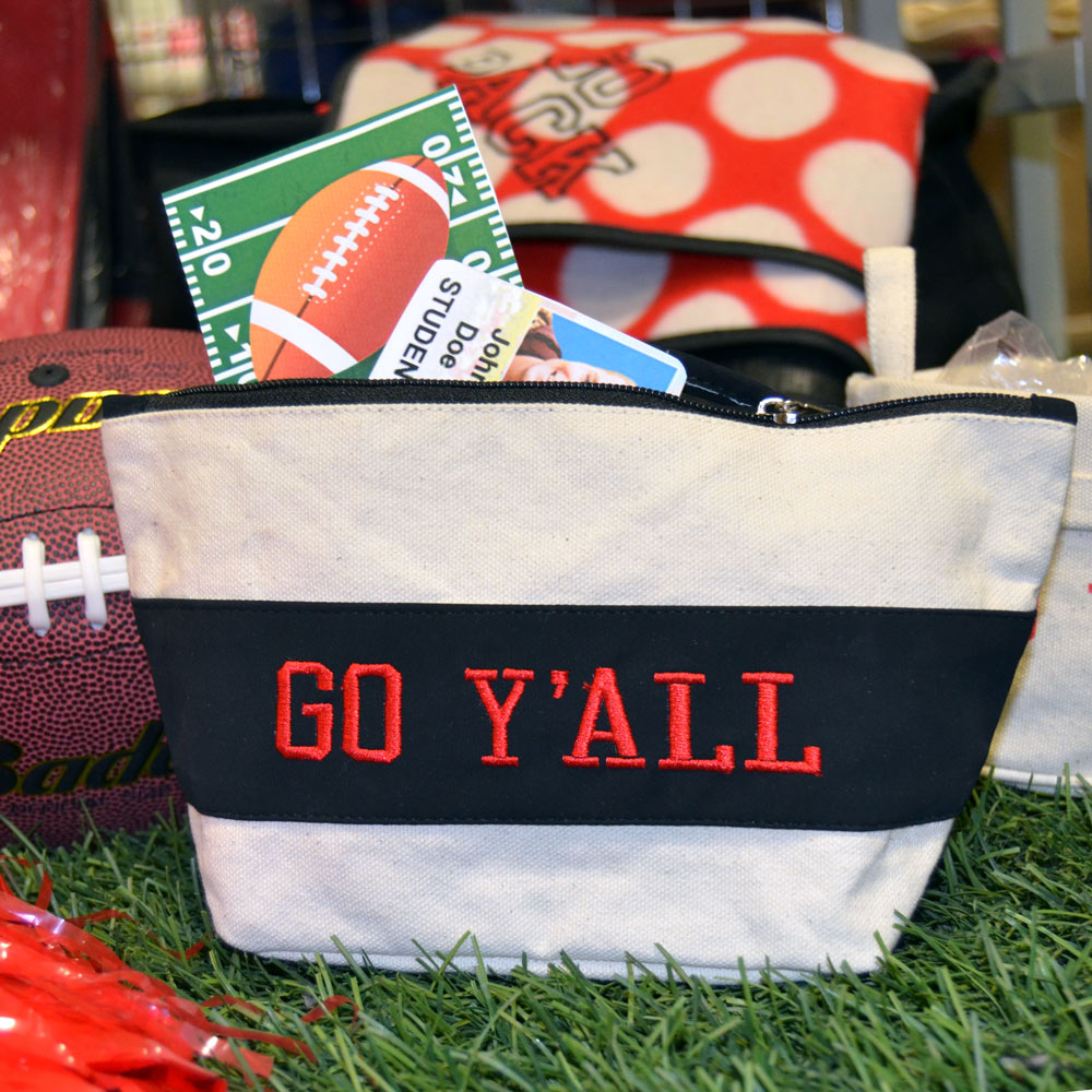 black suede zipper pouch with go y'all red