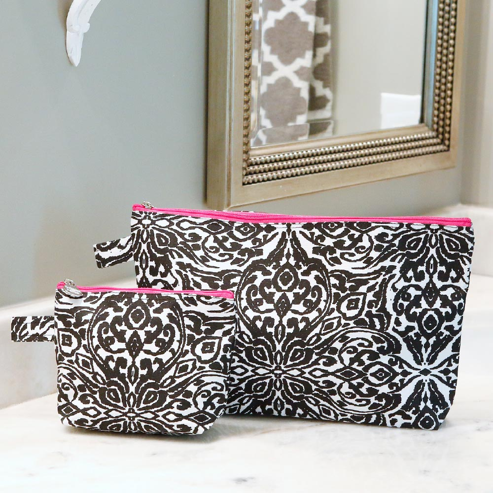 point blank black zipper bag set w/pink trim