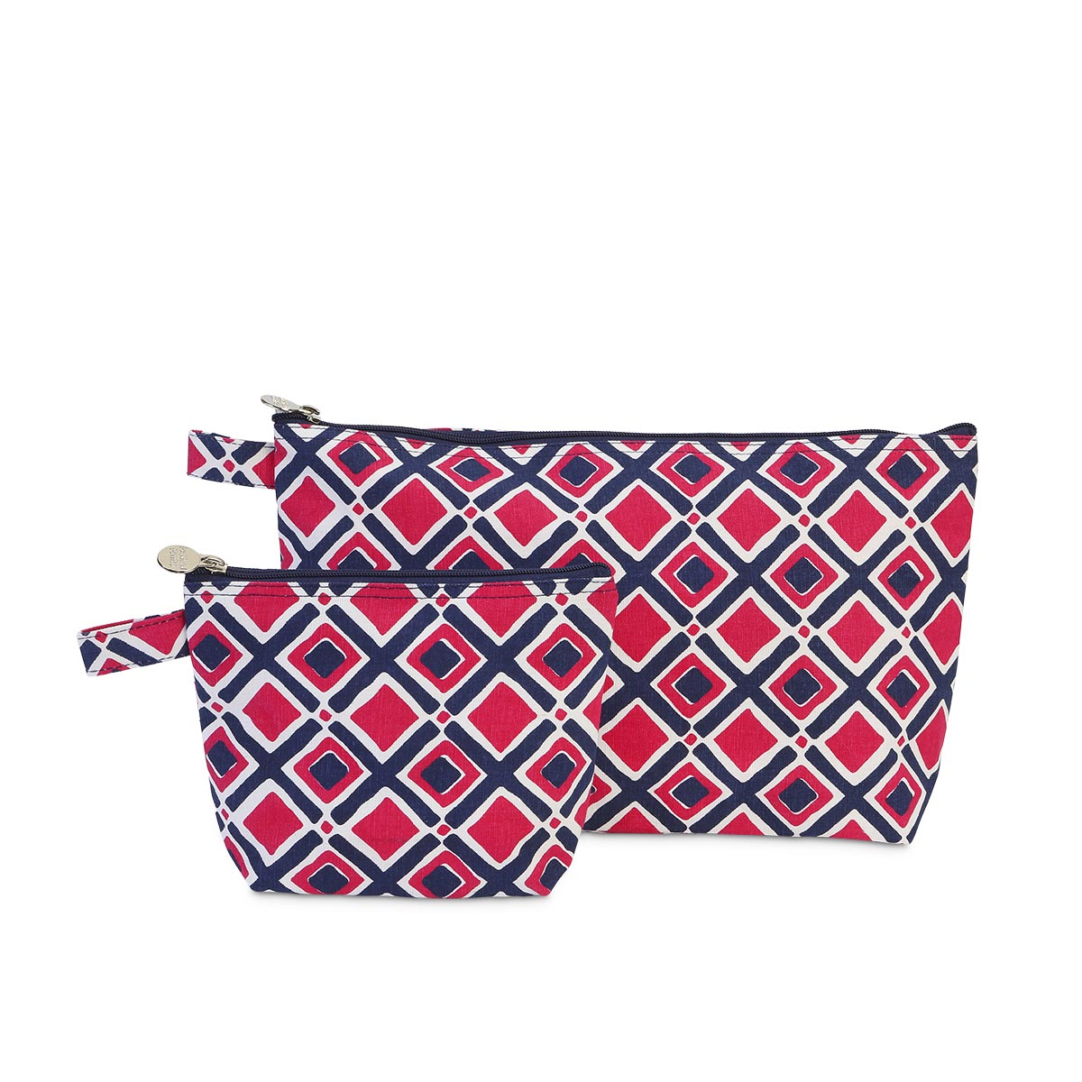 times square navy/pink zipper bag set