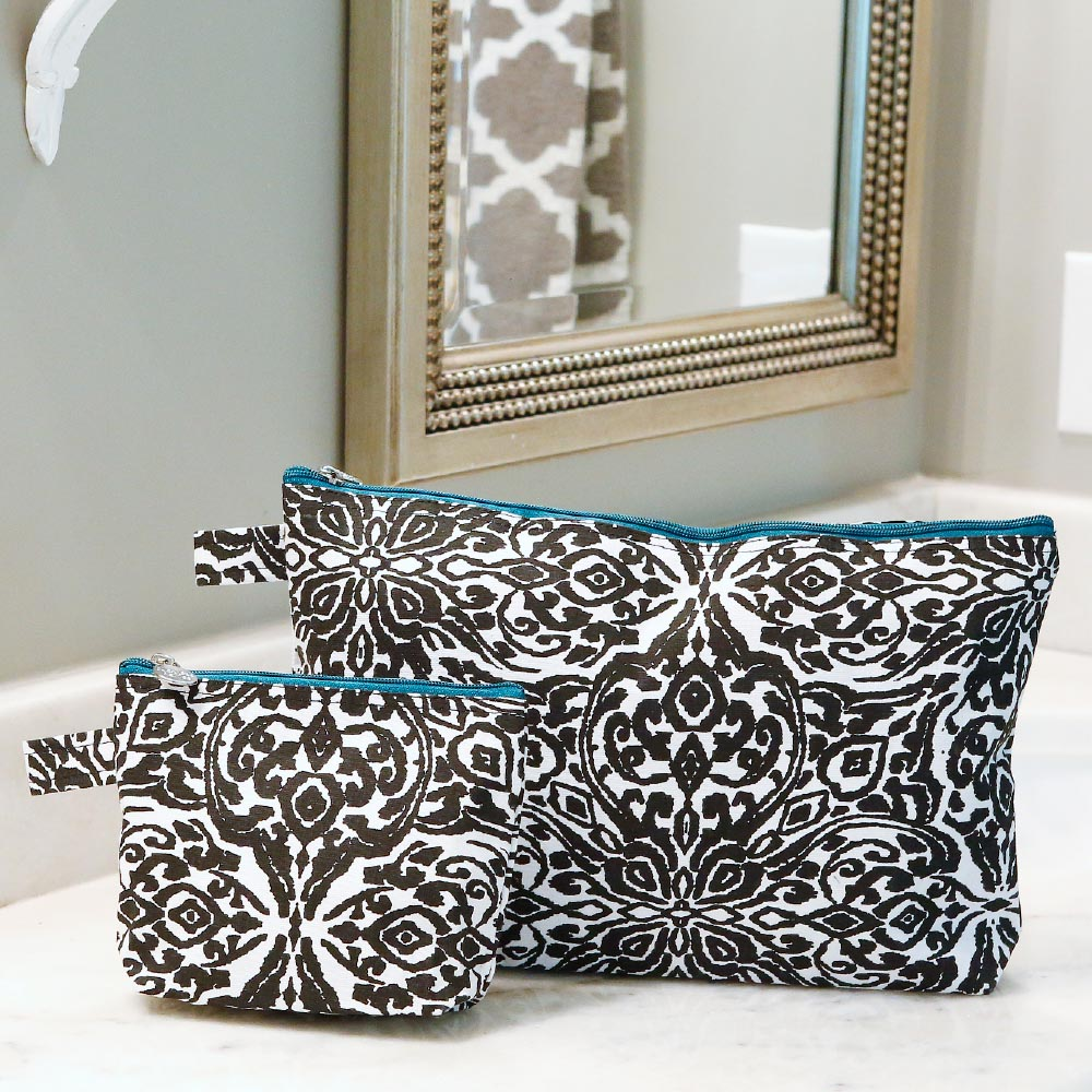 point blank black zipper bag set w/teal trim